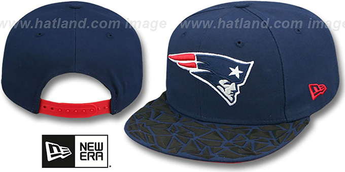 Patriots 'RUBBER MATTE SNAPBACK' Navy Hat by New Era : pictured without stickers that these products are shipped with