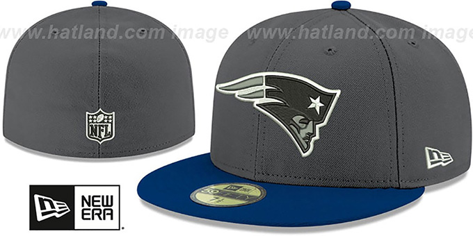 Patriots 'SHADER MELT-2' Grey-Navy Fitted Hat by New Era : pictured without stickers that these products are shipped with