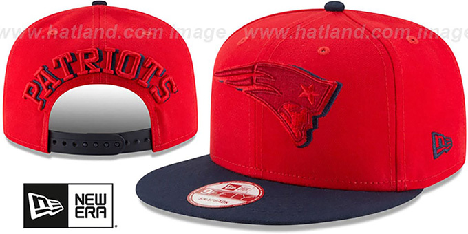 Patriots 'SHADOW SLICE SNAPBACK' Red-Navy Hat by New Era : pictured without stickers that these products are shipped with
