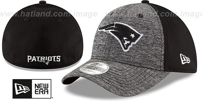 Patriots 'SHADOWED FLEX' Grey-Black Hat by New Era : pictured without stickers that these products are shipped with