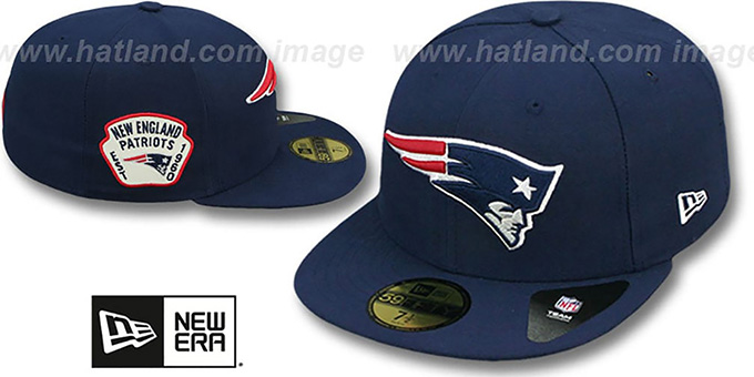 Patriots 'SIDE TEAM-PATCH' Navy Fitted Hat by New Era : pictured without stickers that these products are shipped with