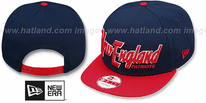 Patriots 'SNAP-IT-BACK SNAPBACK' Navy-Red Hat by New Era : pictured without stickers that these products are shipped with