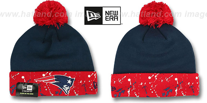 Patriots 'SPLATTER SPECK' Navy-Red Knit Beanie Hat by New Era : pictured without stickers that these products are shipped with