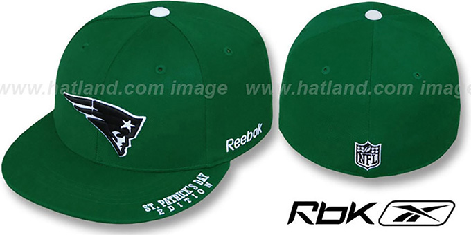 Patriots 'St Patricks Day' Green Fitted Hat by Reebok : pictured without stickers that these products are shipped with