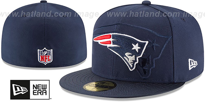 Patriots 'STADIUM SHADOW' Navy Fitted Hat by New Era : pictured without stickers that these products are shipped with