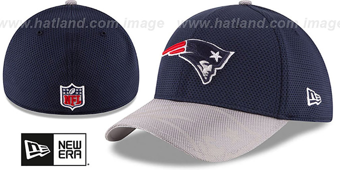 Patriots 'STADIUM TRAINING FLEX' Navy-Grey Hat by New Era : pictured without stickers that these products are shipped with