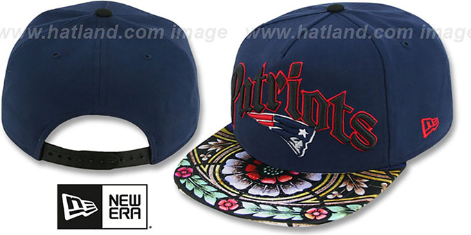 Patriots 'STAIN GLASS SNAPBACK' Navy Hat by New Era : pictured without stickers that these products are shipped with