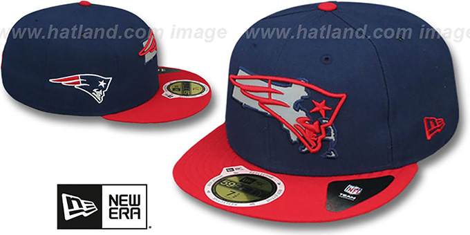 Patriots  STATE REFLECT  Navy-Red Fitted Hat by New Era 2be46f511