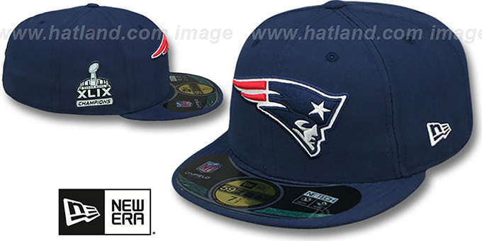 Patriots 'SUPER BOWL XLIX CHAMPS' Navy Fitted Hat by New Era : pictured without stickers that these products are shipped with