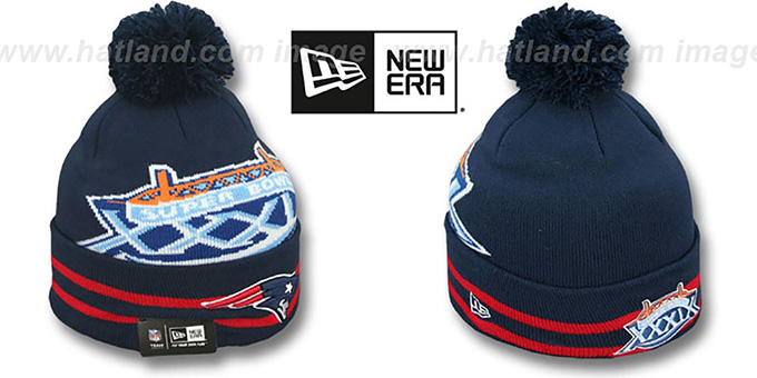 Patriots 'SUPER BOWL XXXIX' Navy Knit Beanie Hat by New Era : pictured without stickers that these products are shipped with