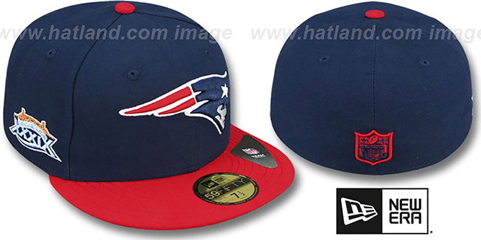 Patriots 'SUPER BOWL XXXIX' Navy-Red Fitted Hat by New Era : pictured without stickers that these products are shipped with