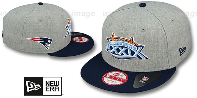Patriots 'SUPER BOWL XXXIX SNAPBACK' Grey-Navy Hat by New Era : pictured without stickers that these products are shipped with