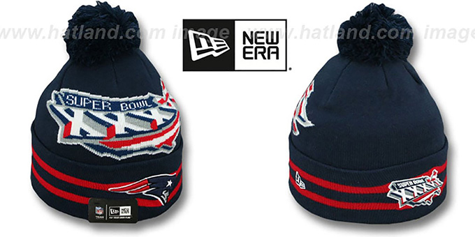 Patriots 'SUPER BOWL XXXVI' Navy Knit Beanie Hat by New Era : pictured without stickers that these products are shipped with