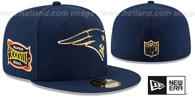 Patriots 'SUPER BOWL XXXVIII GOLD-50' Navy Fitted Hat by New Era : pictured without stickers that these products are shipped with
