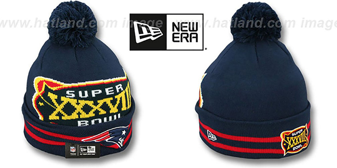 Patriots 'SUPER BOWL XXXVIII' Navy Knit Beanie Hat by New Era : pictured without stickers that these products are shipped with