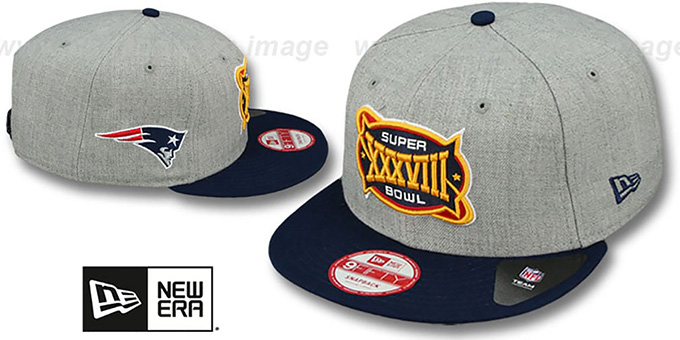 Patriots 'SUPER BOWL XXXVIII SNAPBACK' Grey-Navy Hat by New Era : pictured without stickers that these products are shipped with