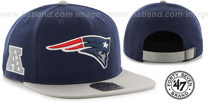 Patriots 'SUPER-SHOT STRAPBACK' Navy-Grey Hat by Twins 47 Brand : pictured without stickers that these products are shipped with
