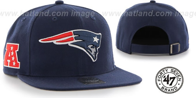 Patriots 'SUPER-SHOT STRAPBACK' Navy Hat by Twins 47 Brand : pictured without stickers that these products are shipped with