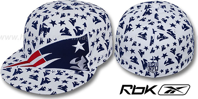 Patriots 'SUPERSIZE FLOCKING' White Fitted Hat by Reebok : pictured without stickers that these products are shipped with
