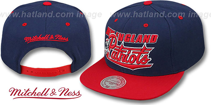 72b1c06dd06 Patriots TAILSWEEP SNAPBACK Navy-Red Hat by Mitchell and Ness