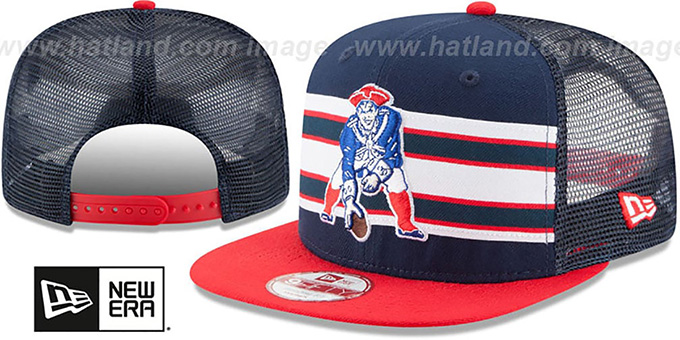 Patriots 'TB THROWBACK-STRIPE SNAPBACK' Navy-Red Hat by New Era : pictured without stickers that these products are shipped with