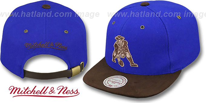 Patriots 'TC-BROWN SUEDE STRAPBACK' Hat Mitchell & Ness : pictured without stickers that these products are shipped with