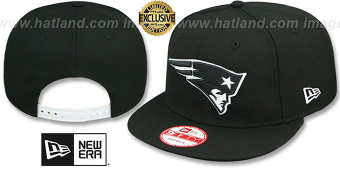 Patriots 'TEAM-BASIC SNAPBACK' Black-White Hat by New Era : pictured without stickers that these products are shipped with