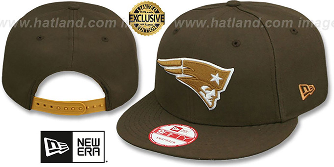 Patriots 'TEAM-BASIC SNAPBACK' Brown-Wheat Hat by New Era : pictured without stickers that these products are shipped with