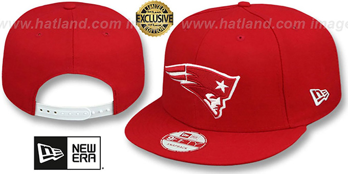 Patriots 'TEAM-BASIC SNAPBACK' Red-White Hat by New Era : pictured without stickers that these products are shipped with