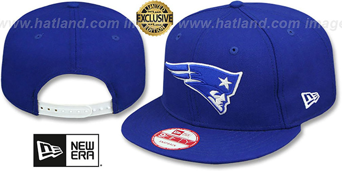 Patriots 'TEAM-BASIC SNAPBACK' Royal-White Hat by New Era : pictured without stickers that these products are shipped with