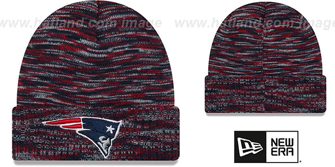 Patriots 'TEAM-CRAZE' Navy-Red Knit Beanie Hat by New Era : pictured without stickers that these products are shipped with