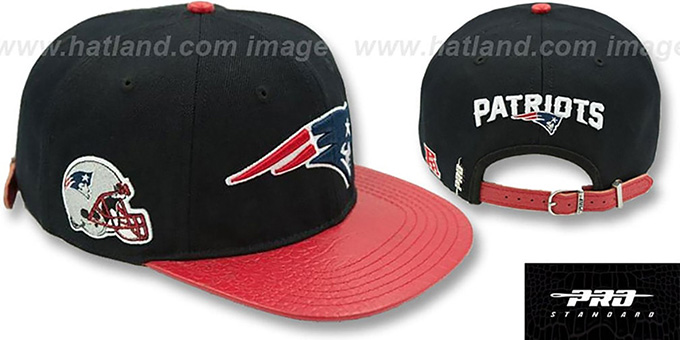 Patriots 'TEAM LOGO SUPER BOWL LII STRAPBACK' Black-Red Hat by Pro Standard : pictured without stickers that these products are shipped with