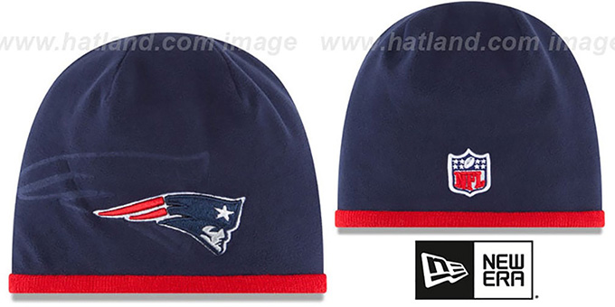 Patriots 'TECH-KNIT STADIUM' Navy-Red Knit Beanie Hat by New Era : pictured without stickers that these products are shipped with