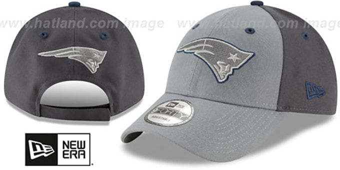 Patriots 'THE-LEAGUE GREY-POP STRAPBACK' Hat by New Era : pictured without stickers that these products are shipped with