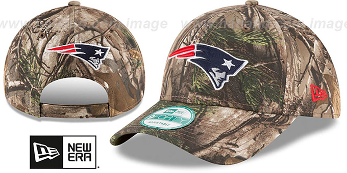 Patriots 'THE LEAGUE REALTREE' Strapback Hat by New Era : pictured without stickers that these products are shipped with