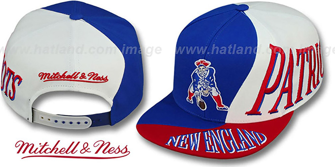 Patriots 'THE SKEW SNAPBACK' Hat by Mitchell & Ness : pictured without stickers that these products are shipped with