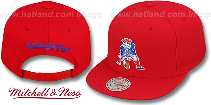 Patriots 'THROWBACK-BASIC SNAPBACK' Red Hat by Mitchell and Ness : pictured without stickers that these products are shipped with