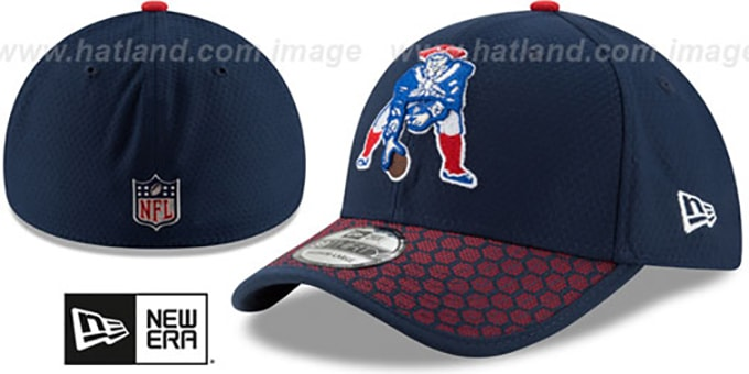 Patriots 'THROWBACK HONEYCOMB STADIUM FLEX' Navy Hat by New Era : pictured without stickers that these products are shipped with