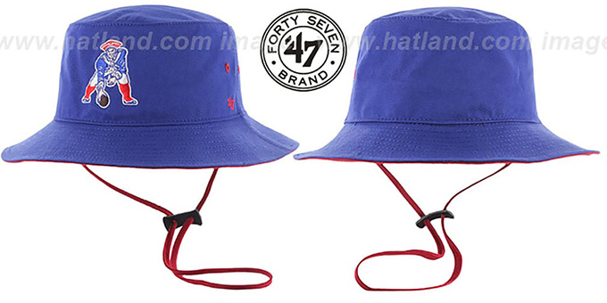 Patriots 'THROWBACK KIRBY BUCKET' Royal Hat by Twins 47 Brand : pictured without stickers that these products are shipped with