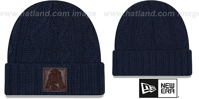 Patriots 'THROWBACK OHANA' Navy Knit Beanie Hat by New Era : pictured without stickers that these products are shipped with