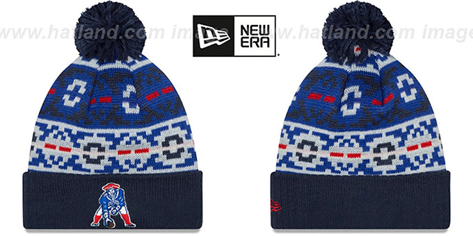 Patriots 'THROWBACK RETRO CHILL' Knit Beanie Hat by New Era : pictured without stickers that these products are shipped with