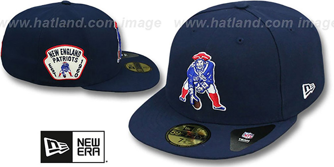 Patriots 'THROWBACK SIDE TEAM-PATCH' Navy Fitted Hat by New Era : pictured without stickers that these products are shipped with