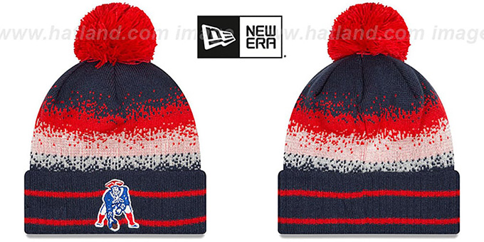 Patriots 'THROWBACK SPEC-BLEND' Knit Beanie Hat by New Era : pictured without stickers that these products are shipped with