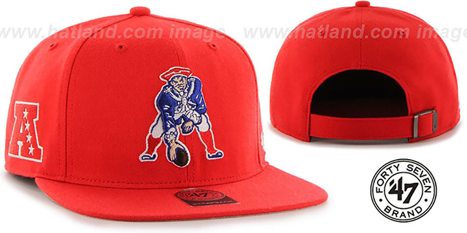 Patriots 'THROWBACK SUPER-SHOT STRAPBACK' Red Hat by Twins 47 Brand : pictured without stickers that these products are shipped with