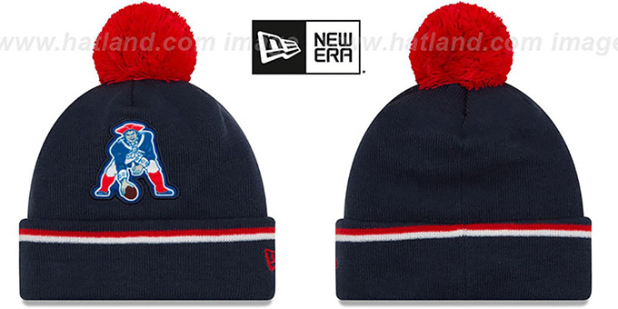 f2a5cbdeadd ... New Era. sale hat! Patriots THROWBACK  TEAM-RELATION  Navy-Red Knit  Beanie by ...