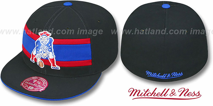 Patriots 'THROWBACK TIMEOUT' Black Fitted Hat by Mitchell & Ness : pictured without stickers that these products are shipped with