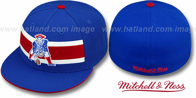 Patriots 'THROWBACK TIMEOUT' Royal Fitted Hat by Mitchell & Ness : pictured without stickers that these products are shipped with