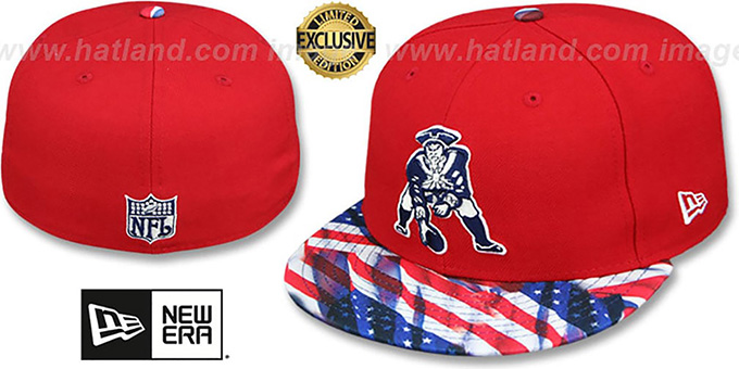 Patriots 'THROWBACK USA WAVING-FLAG' Red Fitted Hat by New Era : pictured without stickers that these products are shipped with