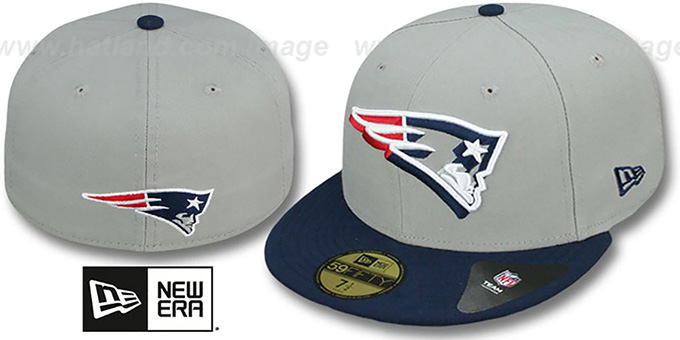 Patriots 'TRACE-POP' Grey-Navy Fitted Hat by New Era : pictured without stickers that these products are shipped with