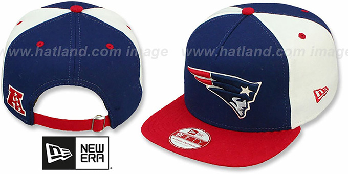 Patriots 'TRIPLE MELTON STRAPBACK' Navy-White-Red Hat by New Era : pictured without stickers that these products are shipped with